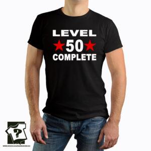Level 50 complete - koszulka z nadrukiem - śmieszny prezent na 50 urodziny