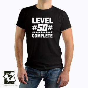 Level 50 complete - śmieszny prezent na 50 urodziny - koszulka z nadrukiem