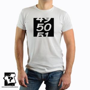 Śmieszna koszulka z nadrukiem na 50 urodziny - 49 50 51