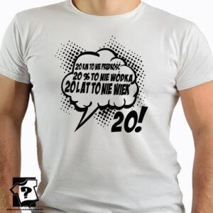20 lat koszulka z nadrukiem na urodziny męskie dla chłopaka, prezent dla syna, mężczyzny, przyjaciela