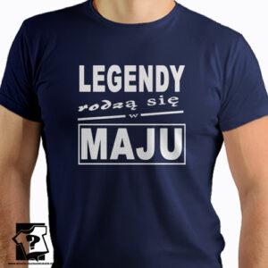T-shirt z nadrukiem legendy rodzą się w maju prezent