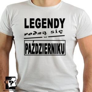 T-shirt z nadrukiem legendy rodzą się w październiku dla chłopaka