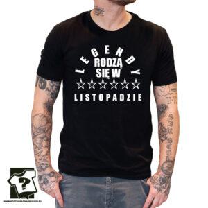 Koszulka z nadrukiem dla chłopaka legendy rodzą się w listopadzie
